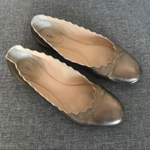 Chloe Lauren Scalloped Metallic Ballet Flat 38 8